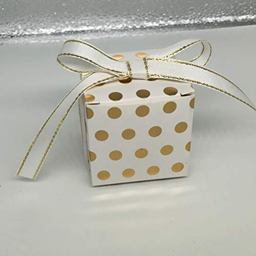 AWELL White Gift Candy Box Bulk with Gold Dots 2x2x2 inches with Ribbon Party Favor Box, Gold Dots, Pack of 50 from AWELL