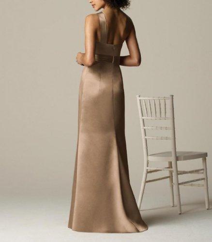 Aermellos Kleidungen 1 Damen Brautjungfernkleider Etui Braun Linie Satin Dearta Bodenlang Schulter cPSqgg