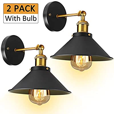 Industrial Wall Sconces Lights Fixture - [UL Listed] 2 Pack With Bulb 3000K Hardwire Wall Sconce Lighting Arm Swing Wall Lights
