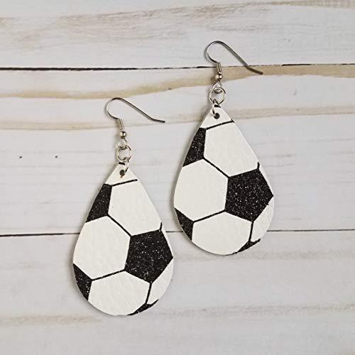 Glitter Soccer Ball Leather Drop Earrings ()