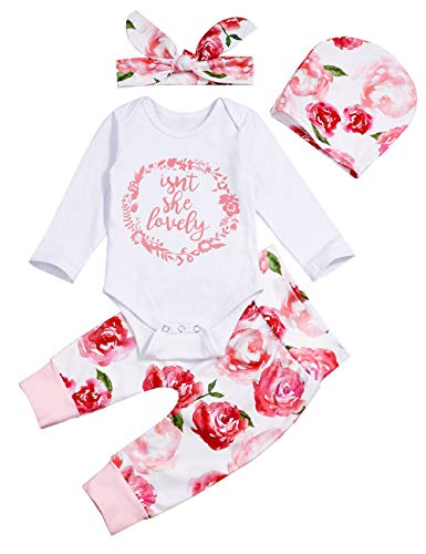 Newborn Baby Girls Bodysuit Jumpsuit Love Print Tops Floral Pants Bowknot Headband Outfits Set (3-6 Months)