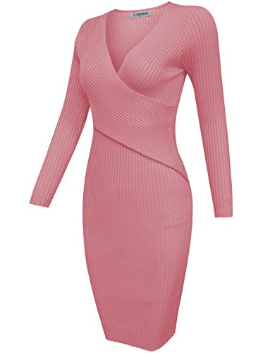 Tam Articles Womens Surplis Wrap Maille Moulante Corail Robe Midi