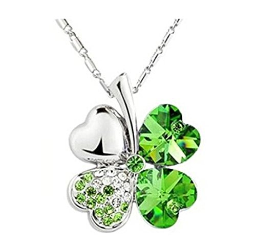 Trinket Crystal Silver Plated Gold (Domire Green Lucky Four Leaf Clover crystal Pendant Neacklace)