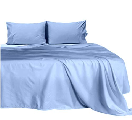 Bedding Experts 500 Thread Count 100% Cotton Super Single Attached Waterbed Sheet Set - Solid Light Blue 15 inch Deep, Wrinkle and Stain Resistant