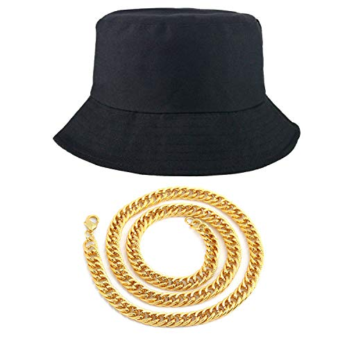 Weahre 80s/90s Hip Hop Costume Kit - Cotton Bucket Hat + Gold Chain, Cool Rappers Kpop Idols Outfits -