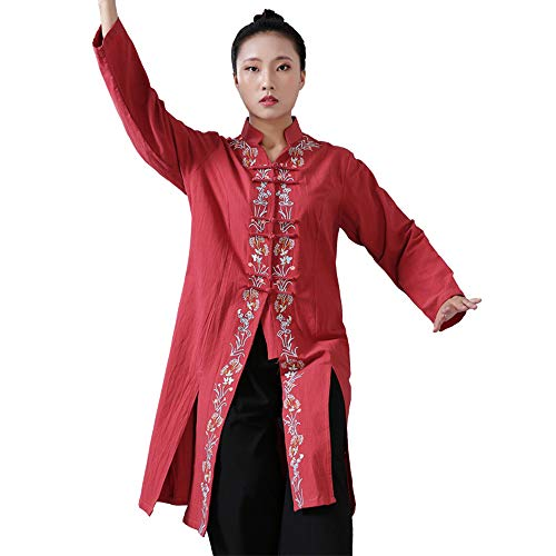 XFentech Kung Fu Uniform Clothing - Women Shaolin Floral Embroidered Comfy Tops
