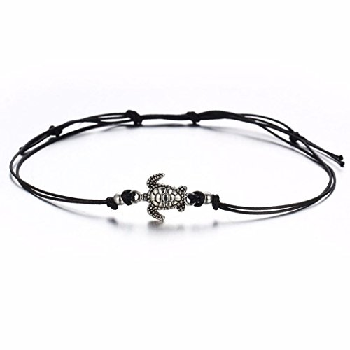 n's Turtle Beach Foot Chain Anklets Vintage Bracelet Jewelry feature: (Black) ()