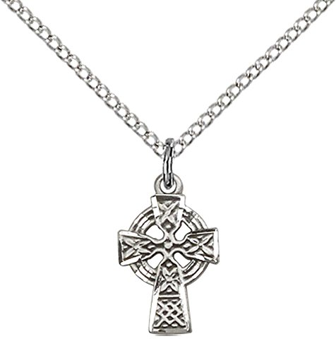 F A Dumont Sterling Silver Celtic Cross Pendant with 18