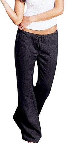 Taille Unie Tissu Été Mode Cordon Mignon Loisirs Confortable S Casual Chic Vintage Temps Haute Noir Large Couleur Femmes Pantalon qnCWBtOnR