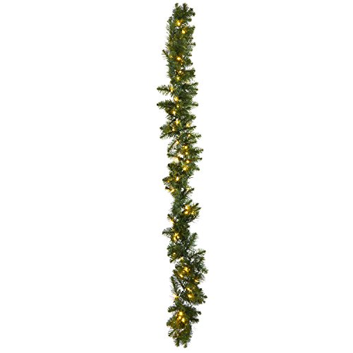 Pre-lit Pine Garland with Warm White LEDs | 9 ft, 100 Lights, Green, Connectable, Plugin, UL Listed by LampLust
