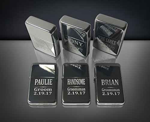 Set of 6 Personalized Lighters, His and her wedding - Custom engraved Best Man gift, Usher, Officiant gift set, Customized wedding -