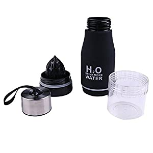 CoolKo Newest Leak Proof Portable 650ML Black H2O Infuser Sports Water Bottle Health Juice Fruit Squeezer Cup, Own Natural Flavored Fuit Infused Water for Healthy Drinks - Stainless Steel Bottle