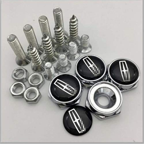 Auto Logo Chrome Metal Anti-Theft Car License Plate Bolts Frame Screws A Pack of 4 for Lincoln
