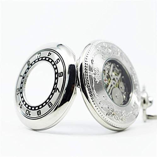 YXZQ懐中時計、チェーンギフト付きスチームパンク機械式スケルトンヴィンテージペンダント時計男性女性懐中時計