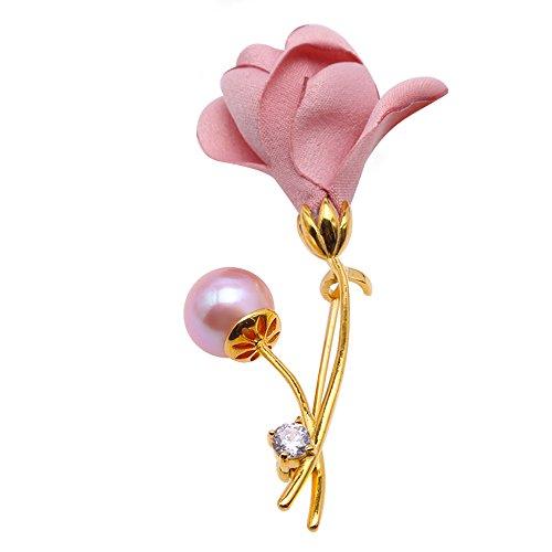 - JYX Bouquet Brooch Round 9.5mm Lavender Freshwater Pearl Brooch Pin Wedding Brooch