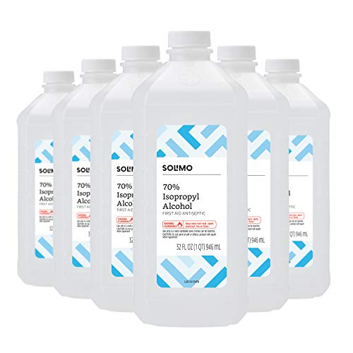 Amazon Brand - Solimo 70% Isopropyl Alcohol First Aid Antiseptic for Treatment of Minor Cuts and Scrapes, 32 Fl Oz (Pack of 6) (32 Oz Rubbing Alcohol)