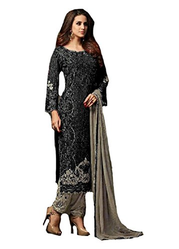 (ziya Indian/Pakistani Ethnic wear Georgette Straight Salwar Kameez (Black, S-38))