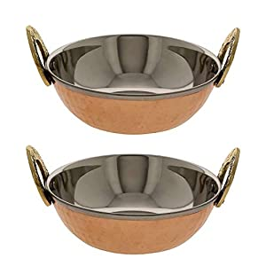Set of 2 Indian Copper Karahi 7