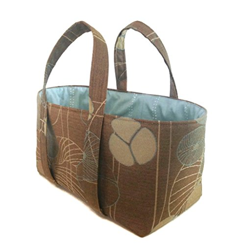 (Small Project Knitting Tote Bag Brown Floral Upholstery 12 x 7 x 6 Fully Lined One Inside Pocket)