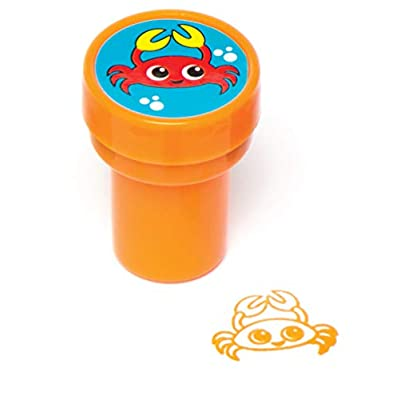 Baker Ross AV221 Sealife Self-Inking Stampers for Children to Decorate and Personalise Cards Arts and Crafts - Summer Party Bag Filler for Kids (Pack of 10), 20mm, Assorted: Arts, Crafts & Sewing