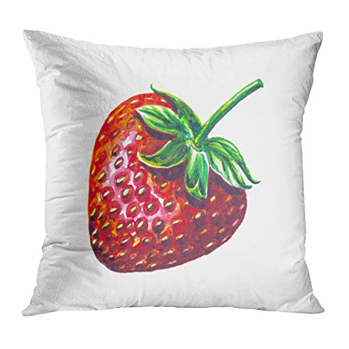 Wesbin Throw Pillow Cover Strawberry Fruit Painting Painted Watercolor New Living Hidden Zipper Home Sofa Decorative Cushion 16x16 Inch Square Design Print