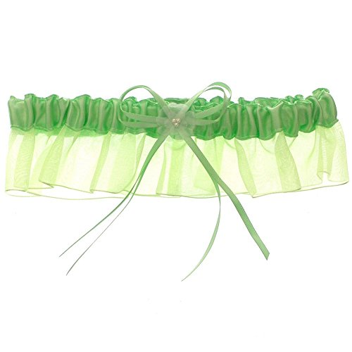 Ruffle Garter (DivaDesigns Satin and Chiffon Ruffle Garter with Faux Pearls Lime)