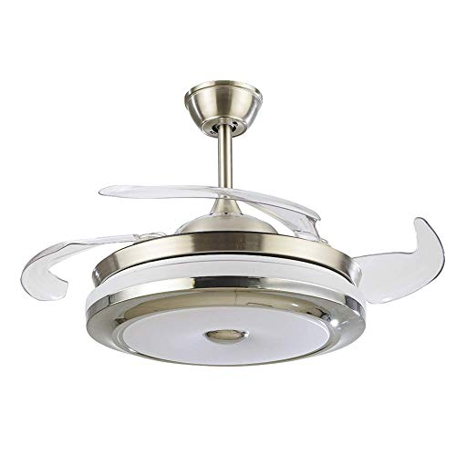 36 Inch Bluetooth Ceiling Fan Light Modern Fan With 4 Reversible Blade Silent Fan Chandelier LED Three-color Dimming with Remote Control