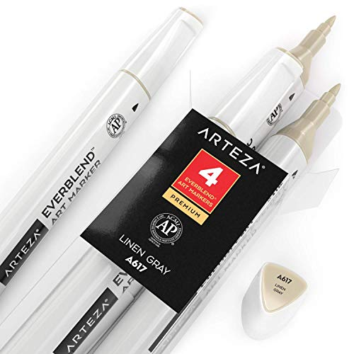 Arteza EverBlend Art Markers Linen Gray A617 (Set of 4), Alcohol Based Sketch Markers with Dual Tips (Fine and Broad Chisel) for Painting, Coloring, Sketching and Drawing
