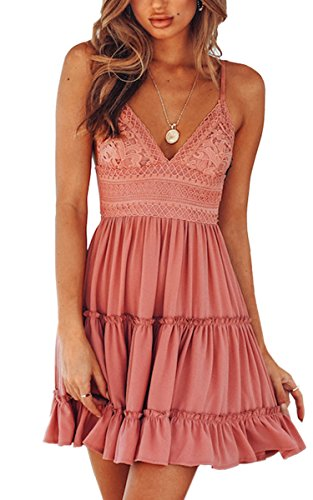 Cute Summer Dress - ECOWISH Womens V-Neck Spaghetti Strap Bowknot Backless Sleeveless Lace Mini Swing Skater Dress Pink-1 S