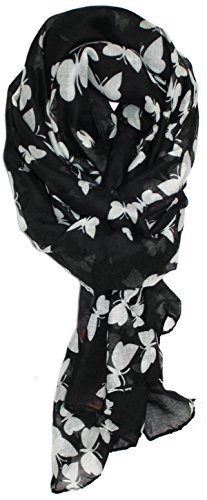 Ted and Jack - Graceful Butterflies Silhouette Print Scarf (Black)