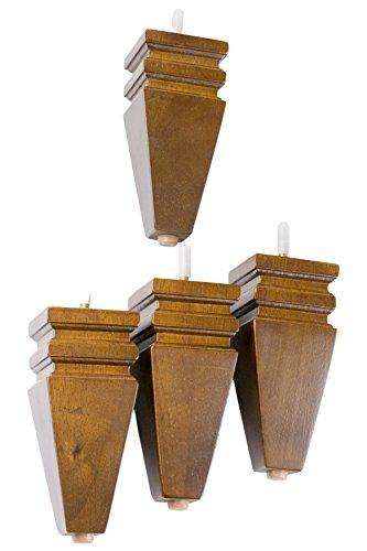 MJL Furniture Designs Medium Carved Block Wooden Replacement Sofa/Ottoman Furniture Square Threaded Leg (Set of 4), Walnut, 6