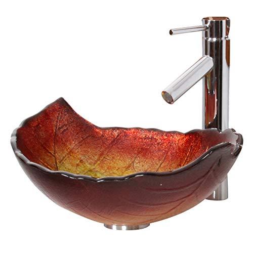 (ELITE Summer Leaves Design Tempered Glass Bathroom Vessel Sink & Chrome Finish Faucet Combo )