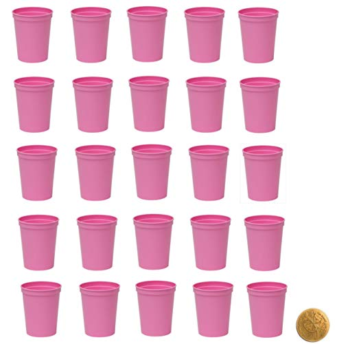 Soft Light Baby Pink Stadium Cups, Pack of 25, Blank 16 oz Plastic Cups