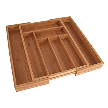 Totally Bamboo Large Expandable Cutlery Tray & Drawer Organizer, 8 Compartments, 2 with Adjustable Dimensions, Beautiful and Durable Bamboo