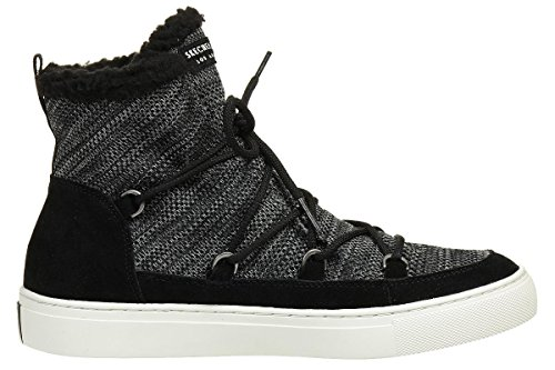 Skechers STREET Damen High Top Sneaker Side Street Warm Wrappers Schwarz Schwarz