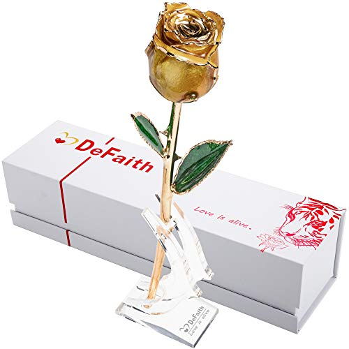 DEFAITH Real Rose 24K Gold Dipped, Forever Gifts for Her Valentines Day Anniversary Wedding and Proposal, Attractive Luster and Natural Shape - Yellow with Moon Stand