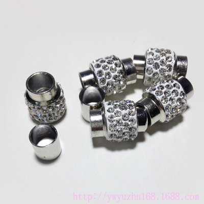 20pcs Leather Rope End Cap Magnetic Clasp with Crystal Pave, Hole: 7mm