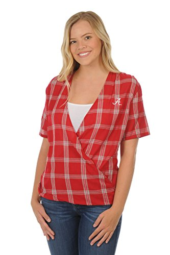 Crimson Plaid - UG Apparel NCAA Alabama Crimson Tide Adult Women Plus Size Short Sleeve Plaid, 1X, Crimson/Grey/White
