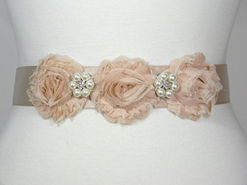 Champagne Bridal Belt, Wedding Belt, Bridal Sash, Flower Girl Dress Wedding Sashes, Pearl and Crystal Rhinestone Shabby Chic Flower Belts, ELSA by PCB Studio