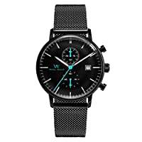 Welly Merck Wrist Watch for Men Chronograph Quartz Movement with Date 40MM Stainless Steel Luxury Analog Watch with Domed Glass,Interchangeable Band,5ATM Waterproof