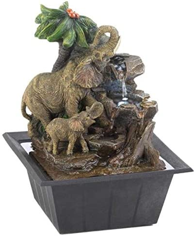 Cascading Fountains Elephants and Palm Tree Scene Tabletop Water Fountain