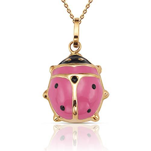 (Jewels Company Beautiful 14K Yellow Gold Ladybug Pendant Necklace 18