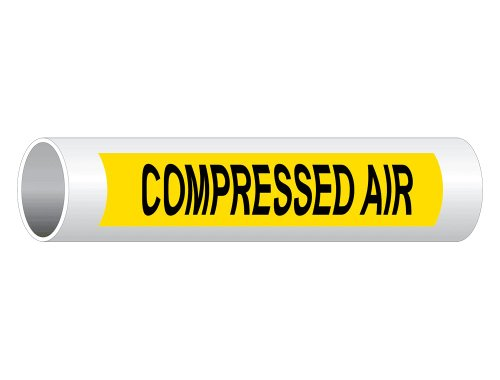 Compressed Air (Black Legend On Yellow Background) Pipe Label Decal, 8x2 inch 5-Pack Vinyl for Pipe Markers by ComplianceSigns