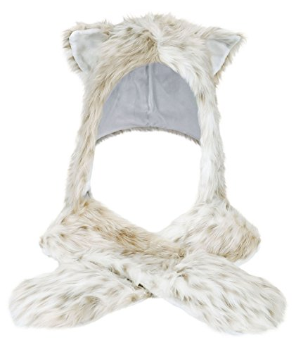 Winter Warm Plush Faux Fur Animal Paws Hat Hoods Gloves Scarf,Leopard - Leopard Hood