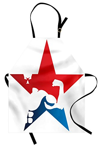 Ambesonne Fitness Apron, Athlete Bodybuilder Silhouette in a Star Shape Powerful Muscular Male Biceps, Unisex Kitchen Bib Apron with Adjustable Neck for Cooking Baking Gardening, Red Blue White