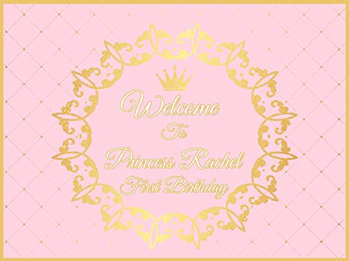 Crown Pink and gold party Supplies, 1st birthday girl decorations, Royal, Tiaras, Personalized princess Wall Poster Handmade Party Supplies Birthday Banner, photo backdrop, Size 24x36, 48x24, 48x36 ()