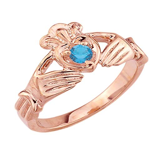 - Women's Fine 14k Rose Gold Custom Personalized CZ Heart December Birthstone Claddagh Ring (Size 4.25)