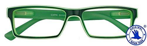 I NEED YOU Reading Glasses Green Capri Designer Square Frames - Eyeglasses For Men & Women With Spring Hinge And High-Quality Plastic - Prescription Eyewear – Power - Plastic Glasses Prescription