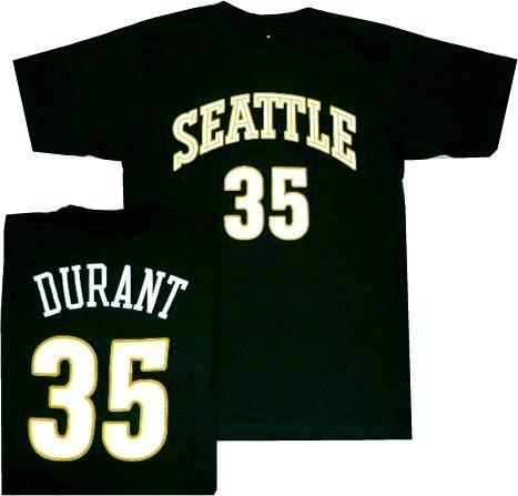 Seattle Super Sonics Kevin Durant Throwback Adidas T Shirt (Medium)
