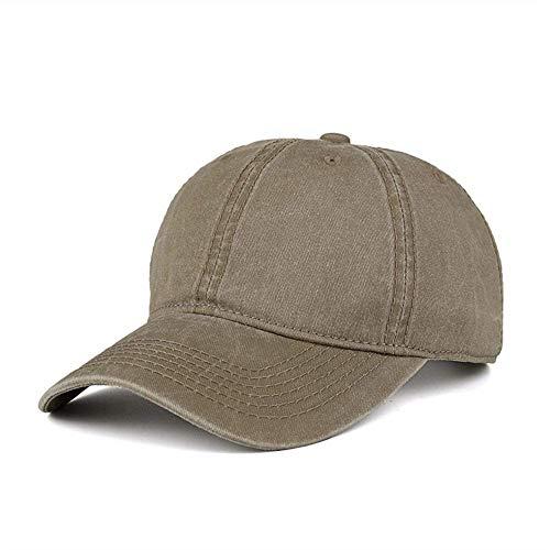 WINCAN Vintage Washed Dyed Cotton Twill Low Profile Adjustable Baseball Cap Denim 6 Panel Stitch Baseball Hat (Light Khaki)